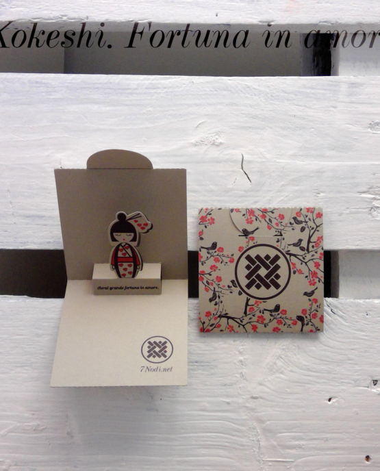 biglietto pop up - kokeshi fortuna in amore - esterno e interno